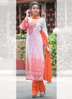 Make the heads flip the moment you dress up in this sort of a attractive orange georgette designer pakistani suit. The enticing print work a vital attribute of this attire. Comes with matching bottom ...