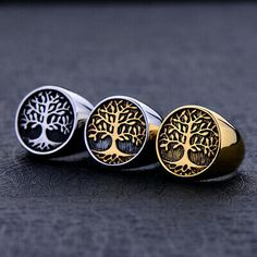 Punk Stainless Steel Titanium Tree Of Life Ring Silver Gold Color Life Tree Rings For Men Ring Jewelry Bague Homme Silver Man, Black Silver, Silver Rings, Horse Jewelry, Jewelry Rings, Jewlery, Tree Of Life Ring, Tree Rings, Stainless Steel Polish