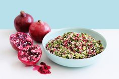 Pomegranate tabouli90g (1/2 cup) burghul 185ml (3/4 cup) boiling water 1 cup chopped fresh continental parsley 3/4 cup chopped fresh mint 2 pomegranates, quartered, seeds removed 3 shallots, trimmed, thinly sliced 2 tbs olive oil 1 tbs fresh lemon juice
