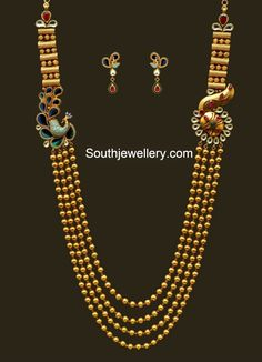 Antique Gundla Haram with Peacock Mugappu - Indian Jewellery Designs Jewelry Design Earrings, Gold Jewellery Design, Necklace Designs, Jewellery Diy, Temple Jewellery, Gold Wedding Jewelry, Gold Jewelry Simple, Bridal Jewelry, Design Page