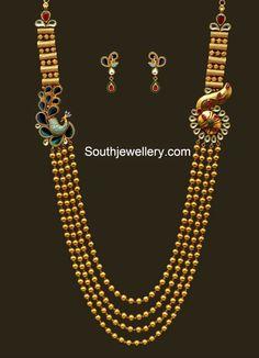 Antique Gundla Haram with Peacock Mugappu - Indian Jewellery Designs Indian Jewellery Design, Latest Jewellery, Indian Jewelry, Jewelry Design, Jewellery Diy, Designer Jewelry, Gold Wedding Jewelry, Gold Jewelry, Fine Jewelry