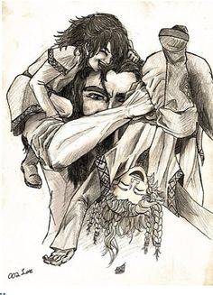 "Kili, Fili, and Uncle Thorin. ""Kili, get off of my head! Fili, let go of my arm!"""