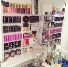 STORAGE - Gorgeous makeup display using a nail polish rack Make Up Organizer, Make Up Storage, Storage Ideas, Wall Makeup Organizer, Storage Organizers, Wall Storage, Diy Storage, Makeup Storage For Small Spaces, Storage Solutions