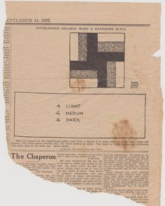 Interlocked Squares  quilt pattern from The Weekly Kansas City Star Sept 14, 1932