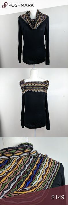 """Missoni Cowl or Off-Shoulder Wool Viscose Top S Missoni Cowl or Off-Shoulder Wool Viscose Top.  Stunning piece.  The body is 100% viscose and very slinky and soft to the touch.  The color cowl (classic Missoni) can be worn as a cowl or off the shoulder and is made of a wool, mohair and viscose blend.  Excellent preowned condition with no flaws noted.  Measurements are taken with the garment lying flat and unstretched:  Armpit to armpit:  19.5"""",  Total length:  26.5""""  Smoke free home.  Thanks…"""