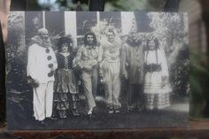 "Mardi Gras Card—I bought this photograph years ago at the Bridge House thrift store. It is a wonderful reminder of how in New Orleans, the more things change, the more they stay the same. Now you can have a copy to frame or to write and send. The front has six people costumed and ready to go out for the day. On the back it says, ""Mardi Gras of 1931, February 17, 1931—Reading from left to right, Harold Cook, May Goddard, Weston Hamilton, Margaret Tate, Steve Tate, and Me."""