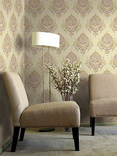 Collection Name:14. Spring Garden-Export Brand:Seabrook Designs Type:Wallpaper Material/Composition:Vinyl-coated paper Prepasted:No Special Finishes:Metallic Ink Sq. Ft. per Roll:30.375 sq. ft. Wallpaper Width:27 in. Vertical Repeat:21 in.