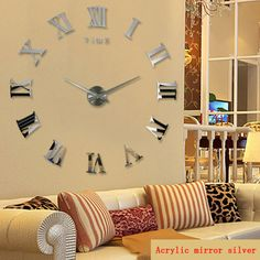 คลิกที่นี่ promotion 2016 new home decor large roman mirror fashion modern  Quartz clocks living room diy wall clock watch free shipping Now d7570f0b01