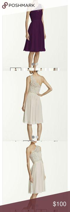 Plum bridesmaid dress from davids bridal One shoulder lace bridesmaid dress Dresses Wedding