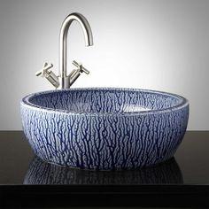 Otsego Hand-Glazed Vessel Sink - Mottled Blue