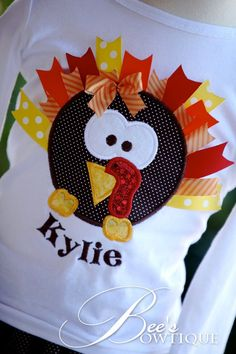 What an ADORABLE ribbon turkey shirt!    Lots of traditional color ribbons make this shirt the cutest!    Personalized for free with any name
