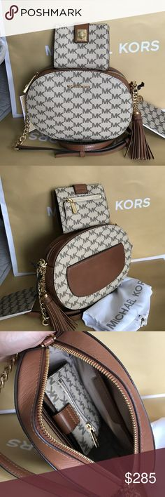 Michael Kors Set 100% Authentic Michael Kors Purse Crossbody and Wallet, both brand new with tag!.color Brown/Tan Michael Kors Bags Crossbody Bags