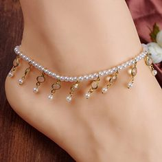 HuaYang Women Bride Party Wedding Prom Imitation Pearl Crystal Ankle Chain…