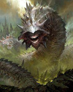 Purple Worm - Monstrosity -- DnD Monsters #PurpleWorm #DungeonCrawling #DnD #Monsters #Monstrosities #Inspiration #Magic #Fantasy #JRusso Monster Concept Art, Fantasy Monster, Monster Art, Forest Creatures, Alien Creatures, Fantasy Creatures, Cool Monsters, Dnd Monsters, Creature Concept Art