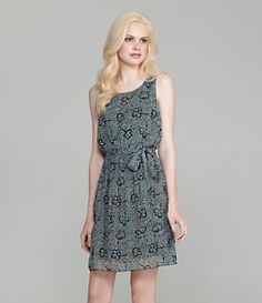 Black Rainn Floral Tie-Waist Dress | Dillard's Mobile