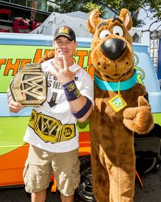 Superstar John Cena runs into Scooby backstage at Summerslam's Fan Axxess. The two will reunite this spring in WWE Studios & Warner Bros. WrestleMania Mystery at Summer Slam on August 2013 in Los Angeles, California. Wrestling Superstars, Wrestling Wwe, Wwe Total Divas, Wwe Divas, Wwe Superstar John Cena, Jone Cena, Wwe Funny, Best Wrestlers, Catch