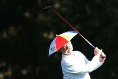Bill Murray Golfing his way.  He is always fun at a pro-am