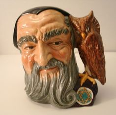 Royal Doulton Large Size MERLIN Toby Mug Character Jug D6529 Excellent! Designed in 1959 by Garry Sharppe.