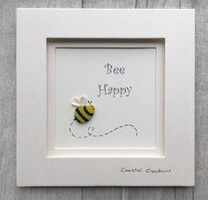 Sea glass and pebble art bumble bee bee happy