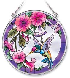Amia Handpainted Glass Pink Morning Glory and Hummingbird Suncatcher, 4-1/2-Inch by Amia
