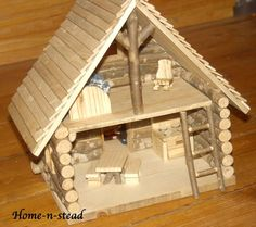 Cabin Dollhouse Includes Furniture Dolls People Accessories Knitted Family Natural Toy Waldorf inspired Set. $300.00, via Etsy.