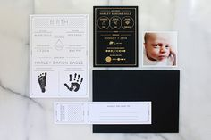 Modern Black White Birth Announcement Blake Eagle OSBP  Incredible Birth Announcements - Mamma Fashion #Creative #Stationery #Announcement #Design #Postcard #Birth #Pregnancy #Motherhood #Parenthood #Cute #Simple #Pregnancy #Love