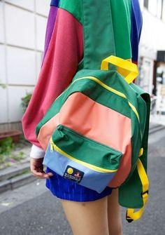 "woahitsacostumeparty: "" i want this peng bag. Retro Backpack, Backpack Bags, Cute Backpacks, School Backpacks, Looks Style, My Style, Retro Style, Bags For Teens, Aesthetic Clothes"