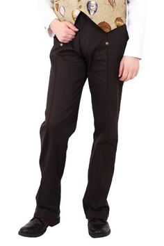 Phaze Gothic Clothing, Mens Dark Brown Emporium Trousers, High Waist Steampunk Trousers