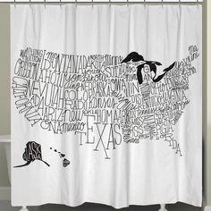 Found it at Wayfair - Hand Lettered US Map Shower Curtain