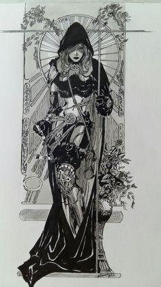 Dragon Enchantress lines by deviantAshtareth on DeviantArt Art Vampire, Vampire Tattoo, Female Vampire, Dark Art Drawings, Art Drawings Sketches, Dark Fantasy Art, Art Inspo, Bel Art, Art Du Croquis
