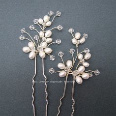 3 Bridal Hair Pin Set H002   Light Ivory  Fresh by eminjewelry, $48.00