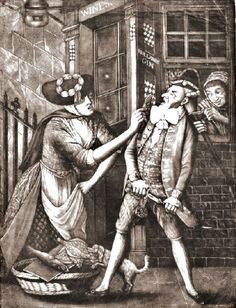 'The enraged macaroni, 1773. A dandy is dressed in Continental style is at the door of a tavern, through the window of which a woman cuts off his 'pigtail' while another brandishes a fish in his face.