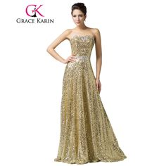 Real Photo Grace Karin Luxury Sequin Gold Evening Dresses Sweetheart  Lace-up Beaded Floor Length Party Formal Evening Gowns 06e5c63e7973