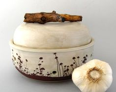 Garlic Keeper Jar - Bradshaw Meadow Series - Hand Thrown Stoneware Pottery  Pinned from PinTo for iPad 