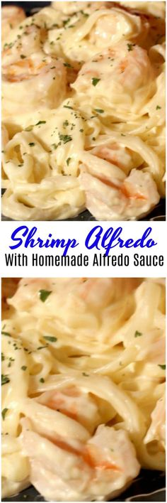 Shrimp Alfredo With Homemade Alfredo. Homemade alfredo sauce with shrimp. This copy cat olive garden Alfredo sauce is simple to make and tastes great. Tastes JUST like Olive Garden! Shrimp Dishes, Shrimp Recipes, Fish Recipes, Pasta Dishes, Pasta Recipes, Cooking Recipes, Cajun Recipes, Dinner Recipes, Pasta