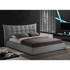 Baxton Studio Marguerite Grey Linen Modern Platform Bed | Overstock.com Shopping - Great Deals on Baxton Studio Beds
