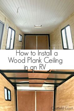 How to install a wood plank ceiling in an RV using tongue and groove planks. An easy way to dress up an RV and add instant warmth and character. #diy #ceiling #plankceiling #rv #tongueandgrooveceiling #plankceilingdiy