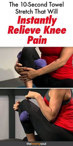 Remedies For Knee Joint Pain Looking for instant knee pain relief? Get rid of knee pain fast with this easy peasy exercise. All you need is 30 seconds, a towel, and a chair! a simple solution with no other products needed. Stretches For Knees, Exercise For Bad Knees, Yoga For Knees, Pilates, Knee Strengthening Exercises, Stretching Exercises, How To Strengthen Knees, Gout Remedies, Knee Pain Remedies