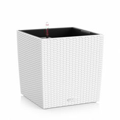 Lechuza 15390 Cube Cottage 50 Self-Watering Garden Planter for Indoor and Outdoor Use, White Wicker Cool Plants, Potted Plants, Small Greenhouses For Sale, Best Led Grow Lights, Container Gardening Vegetables, White Wicker, Self Watering, Pest Control, Amazing Gardens