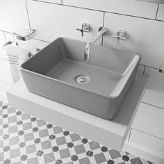Mode Ellis grey coloured countertop basin 485mm Countertop Basin, Grey Countertops, Bathroom Countertops, Wall Mounted Basins, Monochrome Color, Basin Taps, Bathroom Basin, Basin Mixer, Vanity Units