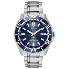 From the Citizen Eco-Drive® ISO-compliant Promaster Diver Collection, this handsome watch is a great choice for every day and water play. - Men& Citizen Eco-Drive® ISO-Compliant Promaster Diver Watch with Blue Dial (Model: Stainless Steel Watch, Stainless Steel Bracelet, Cool Watches, Watches For Men, Men's Watches, Popular Watches, Casual Watches, Wrist Watches, Sport Watches