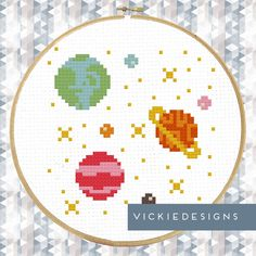 Space Earth Planets Stars Modern Cross Stitch Pattern PDF by VickieDesigns on Etsy