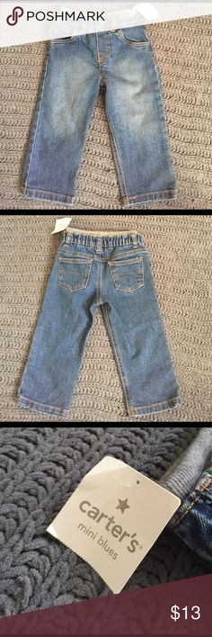 Carter's mini blues jeans. New with tag. 18 months Carters brand mini blues jeans. 18 month. Brand new with tag! Sweat pant stretch waist. Carter's Bottoms Jeans