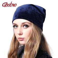 Geebro Brand Women s Velour Beanie Hat Casual Polyester Skullies Beanies  For Women Winter Velvet Plain balaclava Bonnet Sapka b3702518c77b