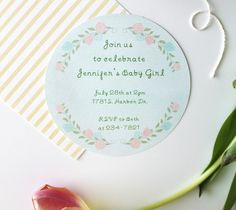Floral Baby Shower Invite by Kori Clark. Make It Now with the Cricut Explore machine and Print then Cut feature in Cricut Design Space.
