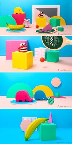 [텐바이텐] childish // photographer_youngju.lee / stylist_areum.son 3d Design, Graphic Design, Ad Photography, Hospital Design, Coffee Painting, Photo Composition, 3d Artwork, Color Splash, Color Inspiration