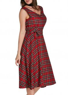 V Back Plaid Print A Line Dress on sale only US$27.79 now, buy cheap V Back Plaid Print A Line Dress at lulugal.com