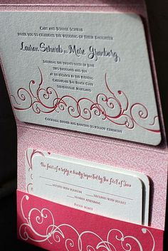 I like these pocket invitations, make it easy to include directions and reception information.