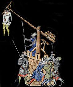 Trébuchet, bible de Maciejowski, 1238, BNF. France / medieval / contagion / weapon