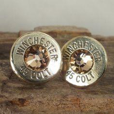 Bullet Earrings - Stud Earrings - Ultra Thin - Colt 45 - Gold Rush. $17.99, via Etsy. I want these!!!